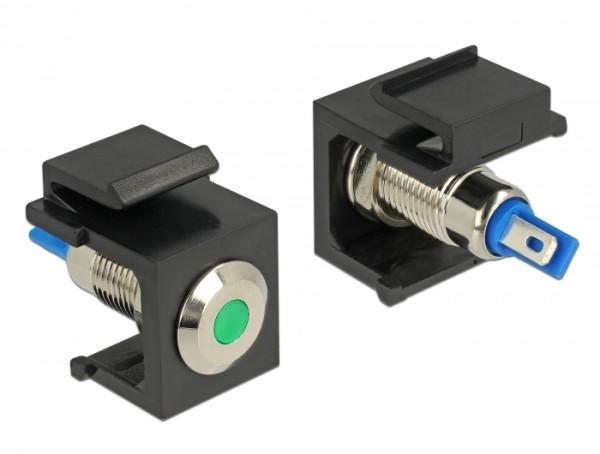 Keystone LED grün 6V flach, schwarz