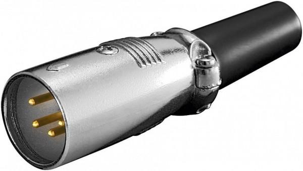 XLR-Stecker, 4-polig, mit vergoldeten Kontakten und geschraubter Zugentlastung
