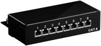CAT 6 Mini Desktop Patchpanel, 8 Port, STP geschirmt, schwarz