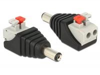 Adapter DC 5,5 x 2,1 mm Stecker - Terminalblock mit Drucktasten 2 Pin