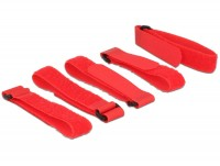 Kabelbinder, Klettverschluss L 300 mm x B 20 mm 5 Stück mit Schlaufe rot