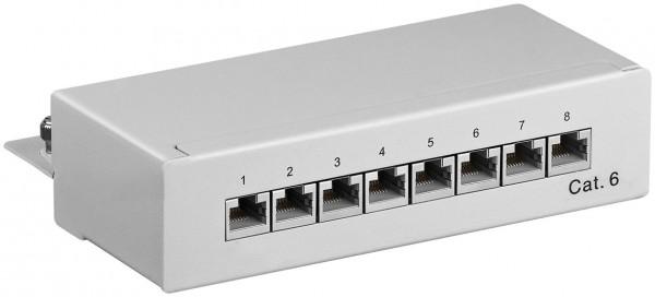 CAT 6 Mini Desktop Patchpanel, 8 Port, STP geschirmt, grau