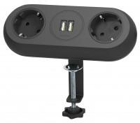 Möbel-Steckdosenleiste mit Klemmhalterung, 2-fach + 2x USB, 1,4m Zuleitung