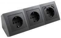 Aufbau Steckdosenblock, 3-fach Schutzkontakt + 2x USB 5V / 2,4A, schwarz