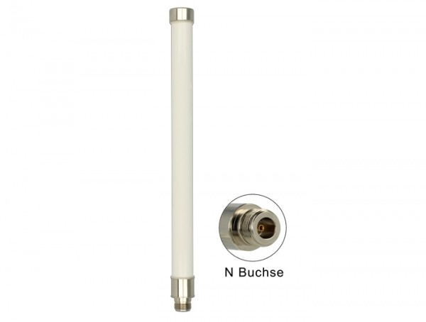 WLAN Antenne 802.11 ac/a/h/b/g/n 6 ~ 8 dBi 280 mm omnidirektional Mastmontage starr weiß outdoor
