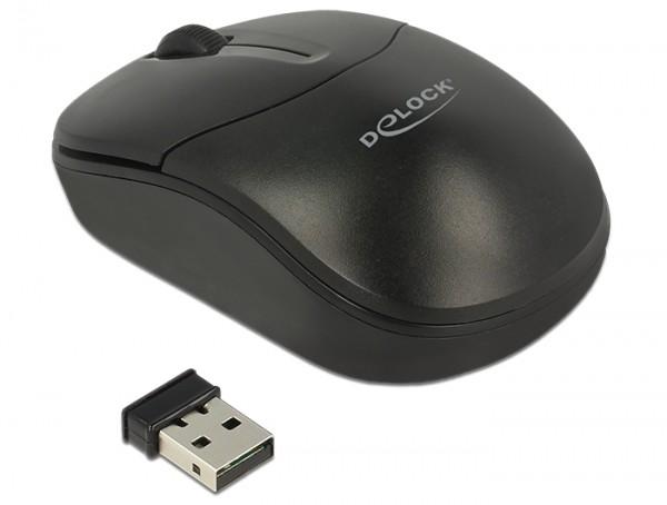 Optische 3-Tasten Mini Maus 2,4 GHz wireless schwarz