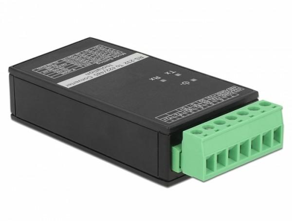 Konverter 1 x Seriell RS-232 zu 1 x Seriell RS-422/485 mit ESD Schutz 15 kV Überspannungsschutz 600 W und 3 kV Isolation erweiterter Temperaturbereich