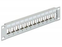 "10"" Keystone Patchpanel 12 Port Metall grau"