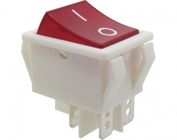 Wippschalter, 2-polig, weiß, rot beleuchtet (250 V), ON-OFF