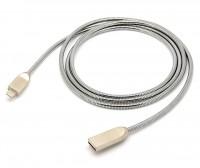 Premium Lightning Metallkabel A Stecker – 8-Pin Apple Lightning Stecker silber