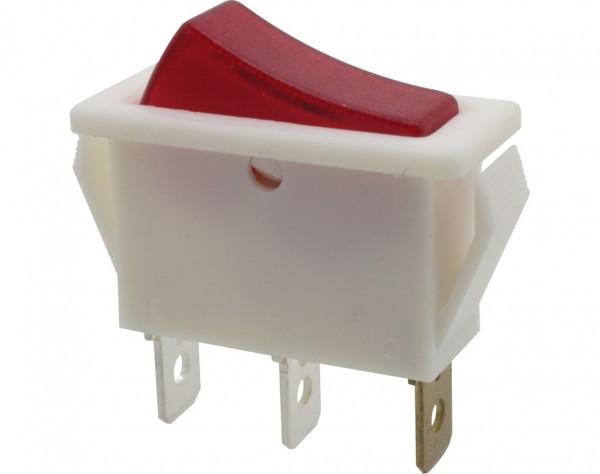 Wippschalter, 1-polig, weiß, rot beleuchtet (250 V), ON-OFF