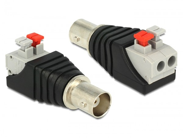 Adapter BNC Buchse - Terminalblock mit Drucktasten 2 Pin