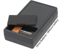 PVC Gehäuse mit Batteriefach für 9V Blockbatterie, 101 x 60 x 26mm, schwarz