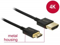 Premium Ultra Slim High Speed Mini HDMI Kabel mit Ethernet A Stecker – Mini C Stecker schwarz