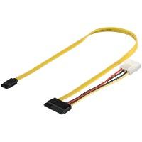 2in1 Slimline S-ATA 1.5GBits / 3GBits / 6GBits Daten + Stromkabel 0,50m
