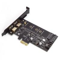 Multiport PCI Express x1 Karte, 2x USB 3.0 / USB 3.1 Type-C / SATA / M.2