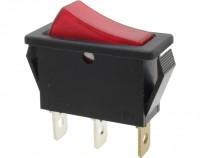 Wippschalter, 1-polig, schwarz, rot beleuchtet (250 V), ON-OFF