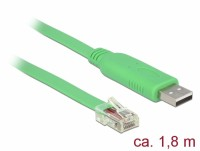 Adapterkabel USB 2.0 Typ A Stecker – 1x Seriell RS-232 RJ45 Stecker grün - Länge: 1,80 m