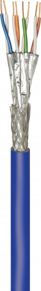 CAT 7A+ Netzwerkkabel, S/FTP (PiMF), Blau, 500 m - CU, AWG 22/1 (solid), LSZH
