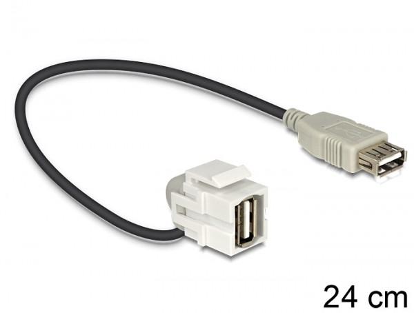 Keystone USB2.0 A Buchse > USB2.0 A Buchse 110° mit Kabel