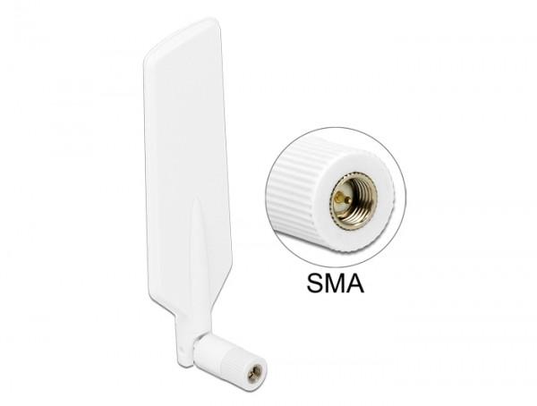LTE WLAN Dualband Antenne SMA 1 ~ 4 dBi omnidirektional drehbar mit Kippgelenk weiß
