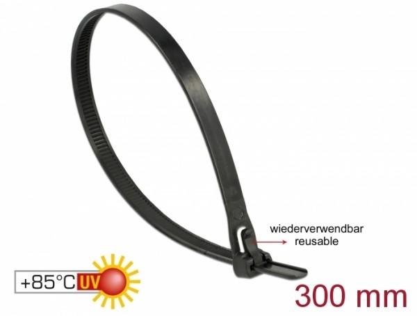 Kabelbinder wiederverwendbar hitzebeständig L 300 x B 7,6 mm 100 Stück schwarz