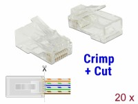 CAT 6 RJ45 Crimp+Cut Stecker UTP, 20 Stück