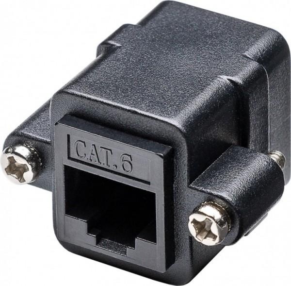 CAT 6 Modularkupplung/Verbinder mit Montageflansch, 2 x RJ45-Buchse