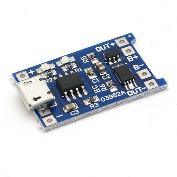 Ladeplatine für 3,7V LiIon / LiPo Akkus, mit Ausgang, Micro USB > Lötpads, 1000mA