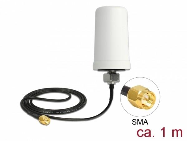 LTE Antenne SMA Stecker 1,7 - 2,0 dBi ULA100 1 m omnidirektional starr outdoor weiß
