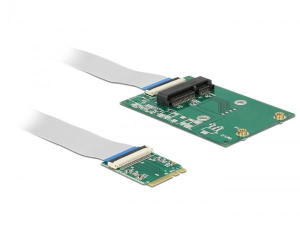 Konverter M.2 Key A+E Stecker - 1 x Mini PCIe Slot half size / full size mit flexiblem Kabel