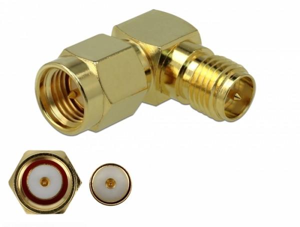 Adapter SMA Stecker zu RP-SMA Buchse 90° 3 GHz