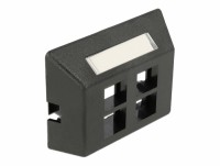 Keystone Anschlussdose 4 Port für Möbeleinbau, schwarz