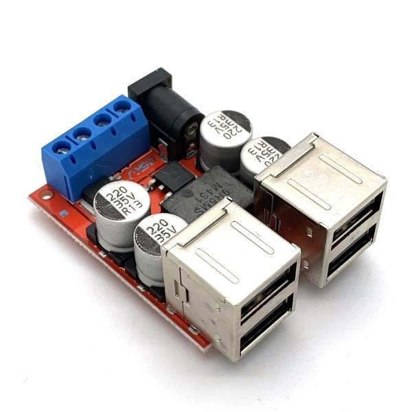 Netzteilmodul 8 - 35V -> 5V / 8A mit 4x USB Ausgang und Schraubklemmen