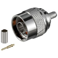 N-Stecker mit ø 5,2 mm für RG 58/U Kabel mit Goldpin, Crimpversion