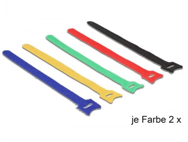Kabelbinder, Klettverschluss, 200 x 12mm, farbig sortiert, 10 Stück