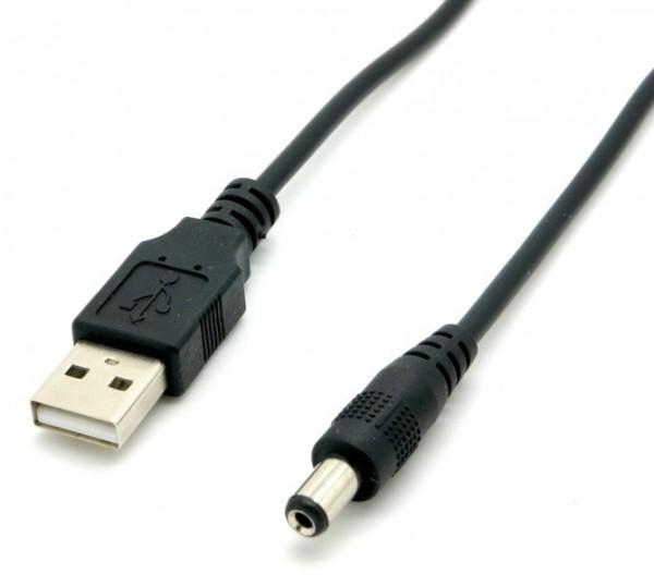 USB Strom Adapterkabel A Stecker - Hohlstecker 5,5 x 2,1mm, schwarz, 1,00m