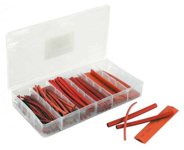Schrumpfschlauch-Set, 100-teilig in Sortimentsbox, rot