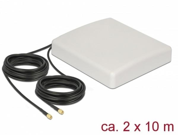 LTE MIMO Antenne 2 x SMA Stecker 8 dBi direktional mit Anschlusskabel RG-58 10 m weiß outdoor