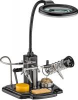 Löthilfe mit Echtglas Lupe, LED Beleuchtung, flexiblem Schwanenhals und Lötkolbenhalterung