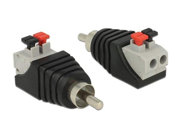 Adapter Cinchstecker - Terminalblock mit Drucktasten 2 Pin