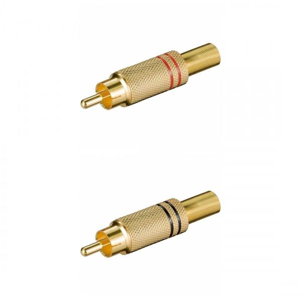 Cinchstecker, Metallausführung mit Knickschutz für Kabel ø5,4mm, Lötmontage