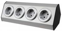 """Aufbau Steckdosenblock """"Premium"""", 4-fach Schutzkontakt, Edelstahl silber, mit 1,5m Kabel"""