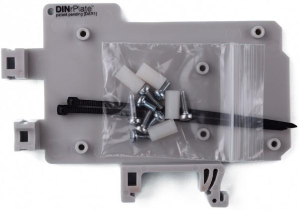 DINrPlate DAR1 - Hutschienenhalter für Arduino Uno / Mega, grau