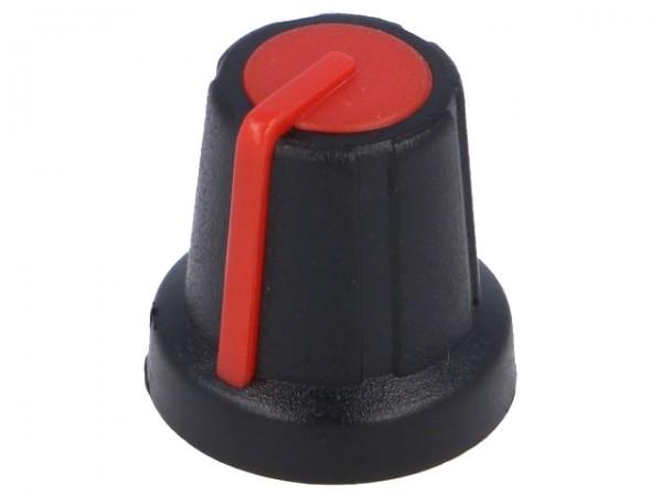 Drehknopf für gerändelte 6,0mm Achse, mit Anzeige, 16x16mm, schwarz/rot