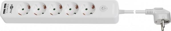 5-fach Steckdosenleiste mit Schalter und 2 USB Ports (2,1A), weiß, 1,5m
