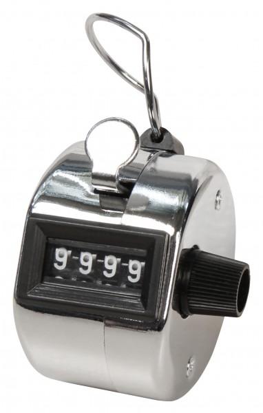 Mechanischer Handzähler, Metallgehäuse mit Ring, 0-9999