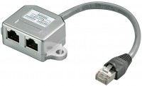 CAT 5e T-Adapter (Port-Doppler), 1x RJ45 Stecker - 2x RJ45 Buchse (1x Ethernet / 1x ISDN)