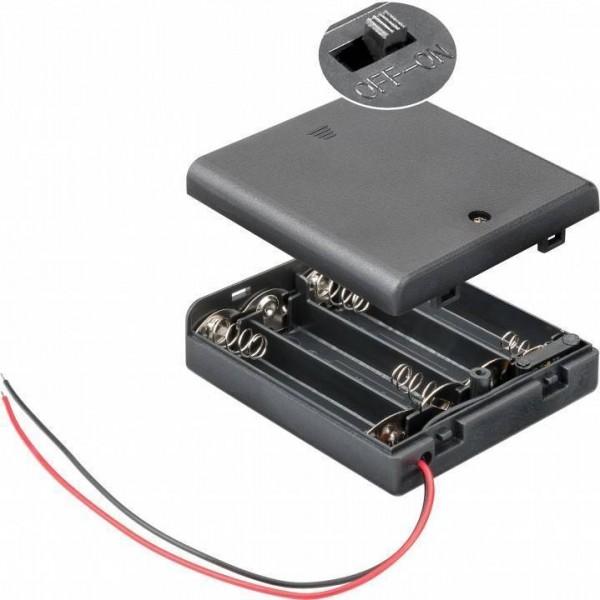 Batteriehalter für 4x Mignon AA mit 150mm Anschlusskabel geschlossenem Gehäuse und Schalter, wasserabweisend