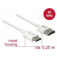 Premium Ultra Slim High Speed Mini HDMI Kabel mit Ethernet A Stecker – Mini C Stecker weiß